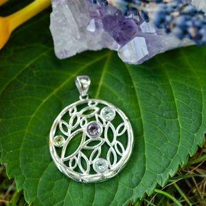 Circular Silver Pendant w Leaves & Gemstones
